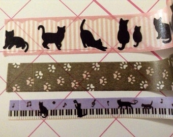 "18"" Black cats/paws washi tape set samples"