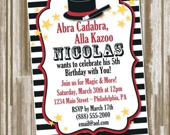 Magic Theme Birthday Party Invitation Set of 10--CUSTOM PRINTED--Includes Envelopes (2.00 each)