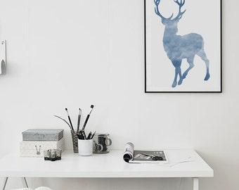 Blue Deer  Winter Poster (Watercolor) - Digital Print