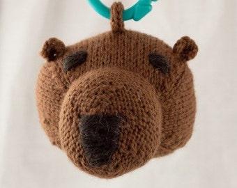 Brown Bear Knit Wool Rattle