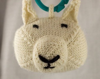 Arctic Hare Knit Wool Rattle