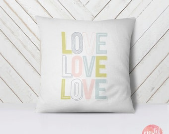 Pastel LOVE Sign Happy Fonts Valentine's Day - Throw Pillow Case, Pillow Cover, Home Decor - TPC1166