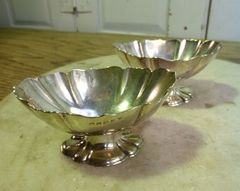 Pair of antique decorative silver plated salts salt condiment dishes
