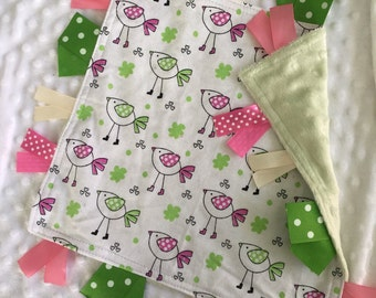 Personalized Tag Blanket Sensory Ribbon Blanket Lovey- Pink and Green Birds and Minky Dot