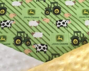 Personalized Minky Baby Blanket, John Deere Tractors Farm Animals Minky Baby Blanket