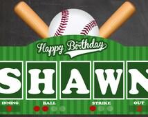 "Baseball Party Yard Sign - Baseball Themed Party - Baseball Decoration - Happy Birthday Yard Sign - Personalized 18"" x 12"" - Baseball Decor"