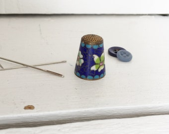 Vintage Cloisonne Thimble - Blue with Flowers