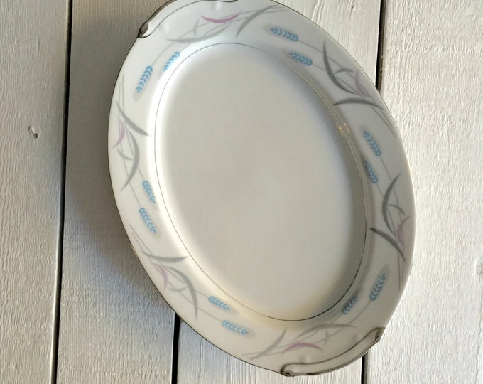 Large Serving Platter, Oval Serving Platter, Vintage Serving Platter, Valmont Royal Wheat, Wedding Gift, New Home Gift, Hostess Gift