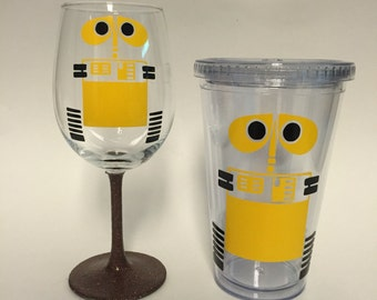 Wall-e inspired wine glass with brown glittered stem