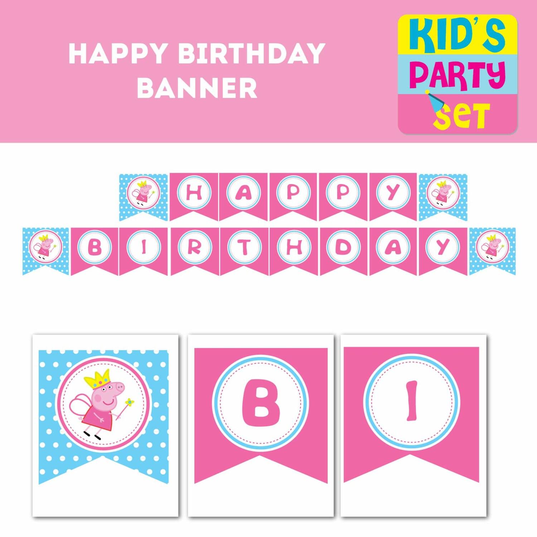 Peppa Pig Printable Birthday Decorations ~ Peppa pig garland printable party