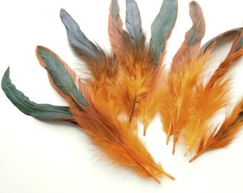 """10 Orange feathers 6-8"""" - Feathers for crafts Orange and Green - Real feathers - Feather earrings supplies - Feathers for hair extensions"""