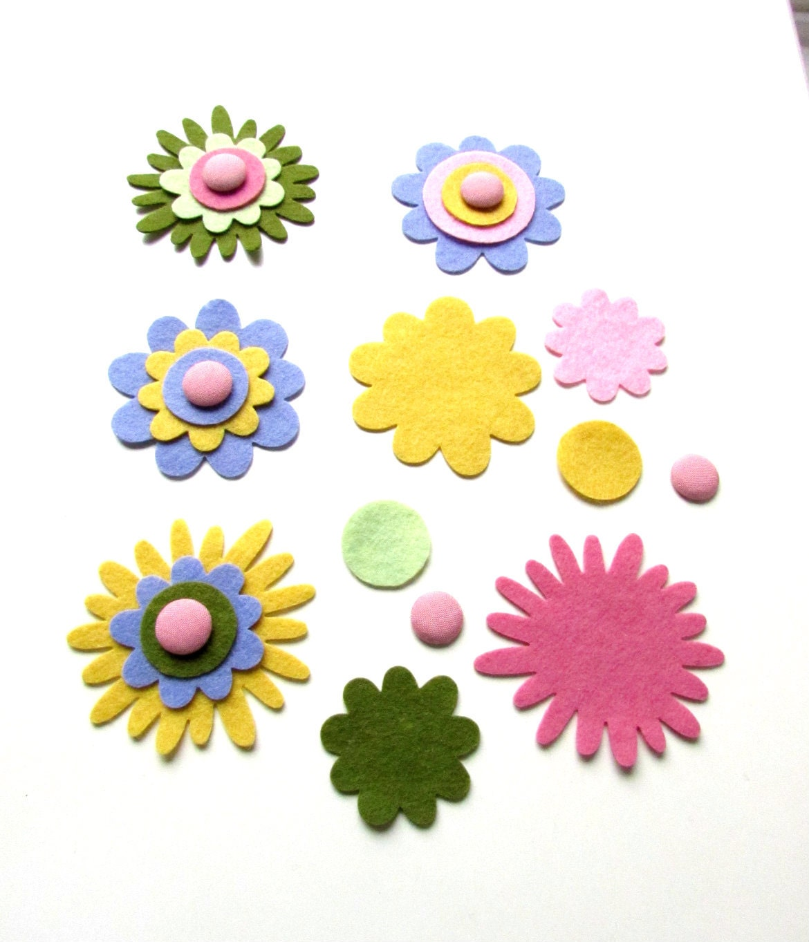 DIY Felt flower set 4 flowers Felt flower by BrightonBabe