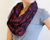 Red and Black Paisley Print Infinity Scarf