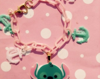 charm bracelet kawaii  with cute scary monster baby pink chain