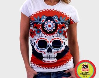 shirt/sugar skull/cráneo t shirt/skull tshirt/clothing women/dress/tshirt/T-Shirt womens/graphic tshirt/sublimation shirt/floral tshirt/