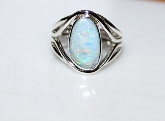 New australian opal ring unique opal by handmadejewelsstore for Australian wedding rings
