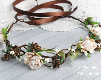 Bridal flower crown Brown Ivory wedding flower crown Wedding flower crown Floral crown Flower hair wreath Girl flower crown LV12