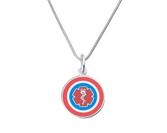 "Surgeon Captain Jr. 316L 1"" Medical Alert ID Pendant Necklace w/Snake Chain-Free Engraving,  Wallet Card, Apps-5782"