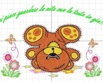 machine embroidery bear