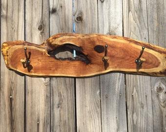 Wood coat rack, Live edge, Mesquite wood