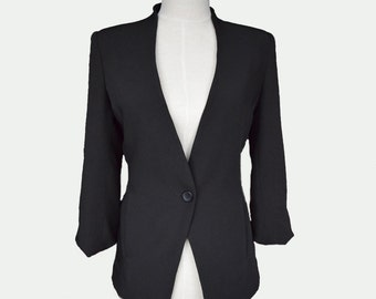 Womens Custom Black Wool Jacket, women slim fit blazer, white jacket, long sleeve jacket, womens blazer