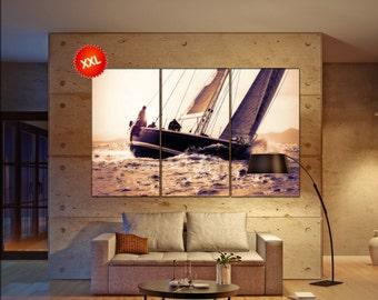 sail boat canvas art prints large wall art canvas print sail boat sailing decor one three five panel Office Decor