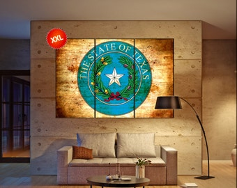 Texas seal flag state flag wall art canvas print seal of Texas state Wall Home decor interior Office Decor