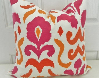 STROHEIM -Montenego Decorative Pillow Cover / Pink and Orange 18 x 18 / Both Side / Ready to Ship!