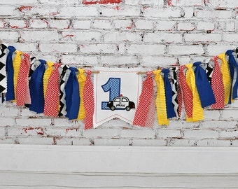 Shabby Rag Flag Fabric High Chair Banner - Policeman Police Car Photo Prop - Red Yellow Blue Black Birthday Party Cake Smash Highchair