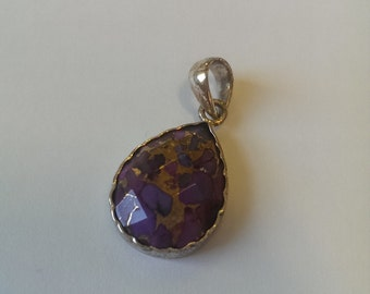 Mauve Topaz and sterling silver tear drop pendant