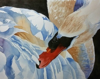 Original Watercolor Painting, Original Watercolor Artwork, Watercolor Swan, Perfect Gift