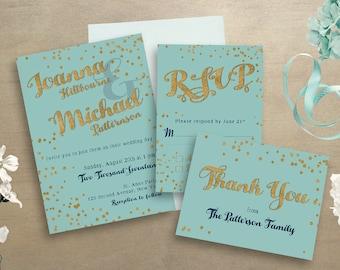 Turquoise Wedding Invitations- Wedding Stationery Set- Gold Stationery- Wedding RSVP- Gold Wedding Invitations- Printable Invitation