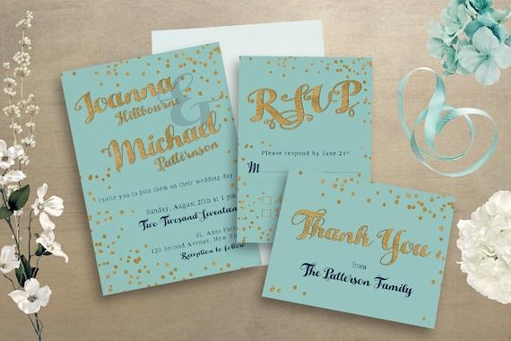 Wedding Invitations Turquoise: Turquoise Wedding Invitations Wedding Stationery Set Gold