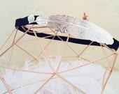 Headband silver feather
