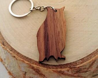 Wooden Owl Keychain, Walnut Wood, Animal Keychain, Environmental Friendly Green materials
