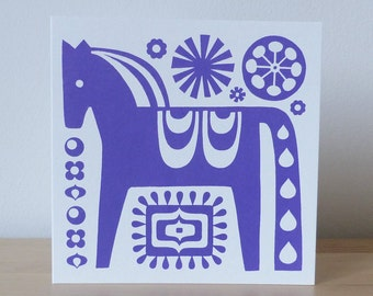 Scandinavian Dala 70s Horse Greeting Card Screen Print Hand Made Folk Art Fran Wood Design
