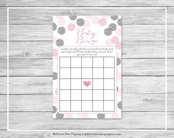 Pink and Silver Baby Shower Baby Bingo Game - Printable Baby Shower Baby Bingo Game - Pink and Glitter Baby Shower - Baby Bingo Game - SP123