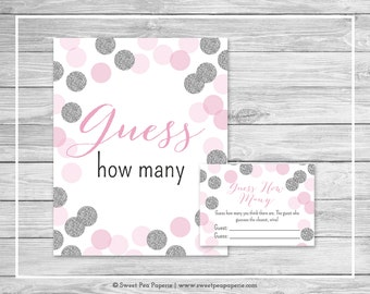 Pink and Silver Baby Shower Guess How Many Game - Printable Baby Shower Guess How Many Game - Pink and Silver Glitter Baby Shower - SP123