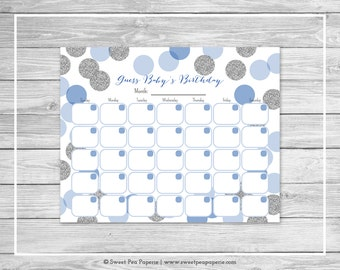 Blue and Silver Baby Shower Guess Baby's Birthday - Printable Baby Shower Guess Baby's Birthday Game - Blue and Silver Baby Shower - SP124