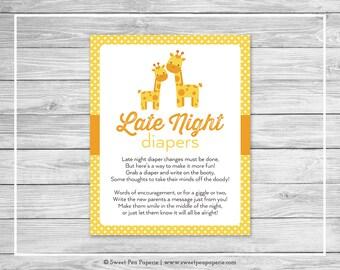 Giraffe Baby Shower Late Night Diapers Sign - Printable Baby Shower Late Night Diapers - Yellow Giraffe Baby Shower - Diapers Sign - SP131
