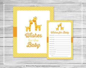 Giraffe Baby Shower Wishes for Baby Cards - Printable Baby Shower Wishes for Baby Cards - Yellow Giraffe Baby Shower - Baby Wishes - SP131