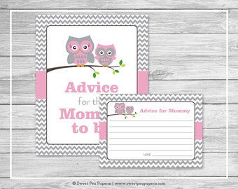 Owl Baby Shower Advice for Mom Cards - Printable Baby Shower Advice Cards - Pink Owl Baby Shower - Owl Shower - Advice for Mom to Be - SP134
