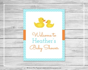 Rubber Ducky Baby Shower Welcome Sign - Printable Baby Shower Welcome Sign - Rubber Duck Baby Shower - Shower Welcome Sign - EDITABLE- SP122