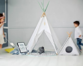 Teepee SET: teepee with 5 poles, rounded mat and 2 douvet covers Kids tents, Wigwam, Zelt, Tent, Playtent, white/grey/pink