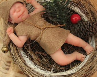 OOAK Little elf in the nest of the magic forest