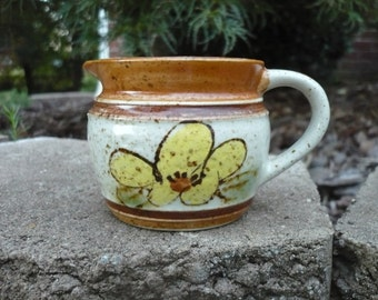 Small Pottery Pitcher Creamer ,Yellow Flower