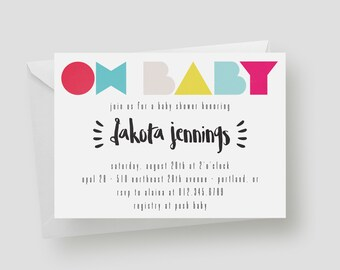 Oh Baby! Baby Shower Invitation | Printable Baby Shower Invitation, Bright, Modern, Multicolor