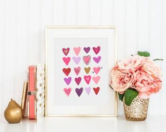 Heart Doodles  - 8x10 Digital Art Print