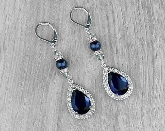LISA bridal earrings with dark blue cubic zirconia rhinestones, teardrop cubic zirconia, Swarovski pearls and bicones, rhinestone rondelles