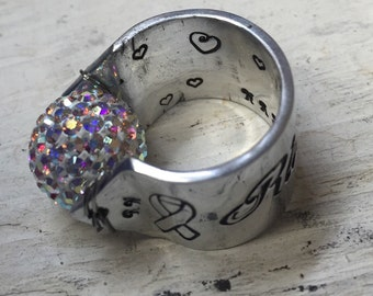 Stethoscope ID Ring with Iridescent Swarovski Mosaic Crystal Ball